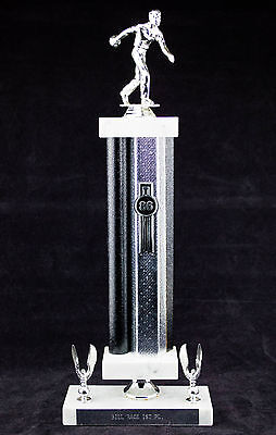 """Vintage 1986 Bill Race 1st Place Fine Marble Italy Made Bases Trophy Award 16"""""""