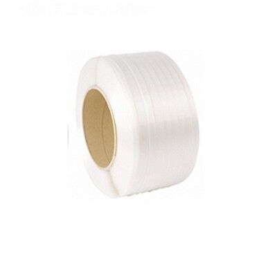 3000M 3km WHITE/CLEAR MACHINE PALLET PACKAGING STRAPPING COIL STRAP REELS 12mm
