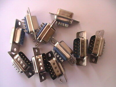 5 matching pairs of cannon type 9 pin dee d plug and socket solder bucket uk!