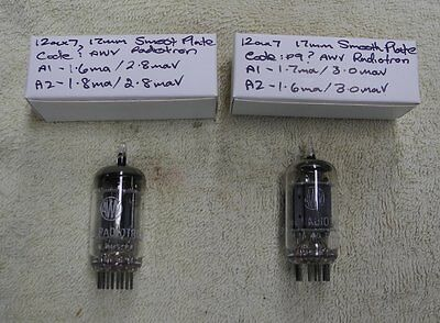 2 x AWV Radiotron long 17mm smooth plate 12AX7 pair Test strong AVO