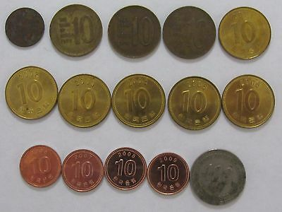 Lot of 15 Different South Korea Coins - 1967 to 2009 - Circulated & Uncirculated