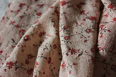 Country French Antique 18thC Block Printed Jouy Or Nantes Linen Fabric