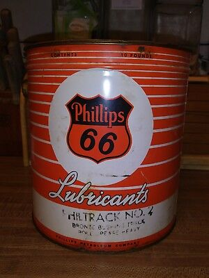 Vintage PHILLIPS 66 Lubricant Old 10 lb. Grease Bucket Tin Oil Can Philtrack #2