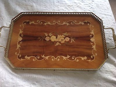 Mahogany tray with metal outer