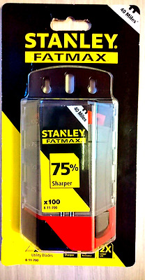 100 x STANLEY FatMax Utility Retractable Fixed Knife Blades + Holder, 8-11-700