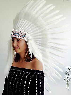 Indian Headdress Long White Halloween Party Costume
