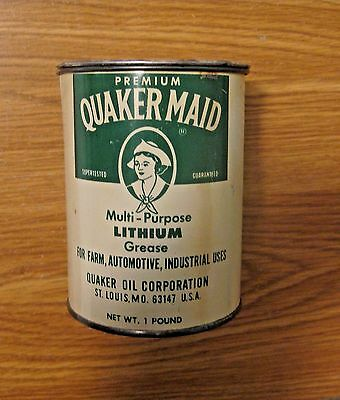 Rare Vintage Quaker State Quaker Maid Lithium Grease Advertising Oil Can ~ Nice