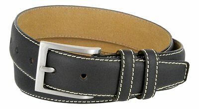 "Hagora Women Real Leather Tough White Contrast Stitches 1-3/8"" Wide Buckle Belt"