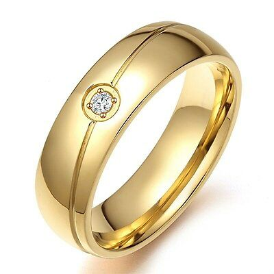 6MM Gold Plated Wedding CZ Band Men Women Stainless Steel Wedding Ring Size 6-13