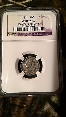 1834 capped bust dime ngc vf