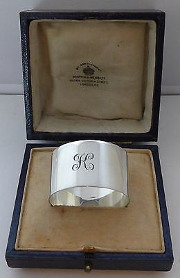 Boxed 1923 Hallmarked Solid Silver Napkin Ring Serviette Ring Mappin & Webb