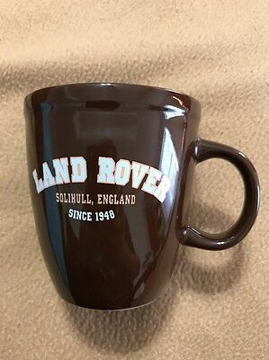 "Land Rover dark brown ceramic coffee cup mug says ""SOLIHULL, ENGLAND SINCE 1948"""