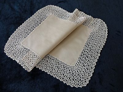 Vintage Unused Pale Beige Tray Cloth With Handmade Lace Trim