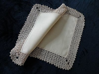 Vintage Unused Irish LinenTray Cloth With Handmade Lace Trim