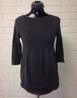 Old Navy Maternity XS Charcoal Grey Tunic Lightweight Cotton Sweater 3/4 Sleeve