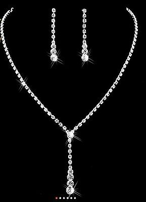 Silver Crystal Rhinestone Necklace Earring Set Bridal Bride Wedding Jewellery