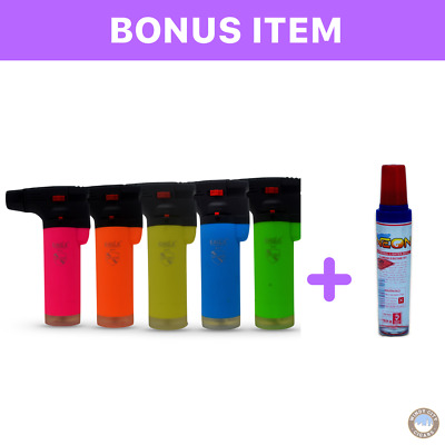 NEON 4 Pack Eagle Jet Torch Gun Lighter Refillable Windproof + FREE Butane