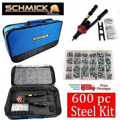 600pc STEEL RIVNUT KIT PLUS TOOL BAG M3 M4 M5 M6 M8 NUTSERT SET RIVNUTS RIVET
