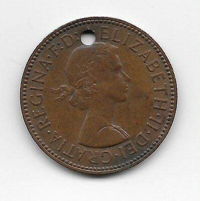 1960 Half Penny with hole for necklace chain