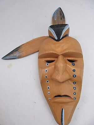 Handmade, signed M. Crowe 8/93 Wooden Indian Mask