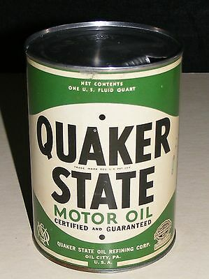 QUAKER STATE MOTOR OIL CAN VTG 1930-40s Empty  OIL CITY PA. U.S.A.