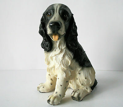 "DOG SPANIEL Figurine Black and White Sitting 8"" Resin NEW"