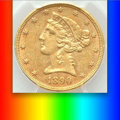 1890 PCGS AU55 4,240 Minted -- LOWEST from 1878 to 1929! RARE Gold $5 Half Eagle