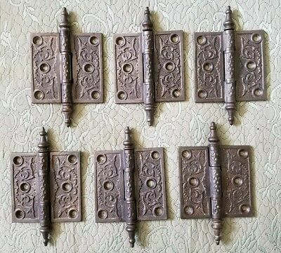 OLD Victorian Cast Iron Door Hinges Steeple Hardware-Quantity 6 FREE SHIPPING!