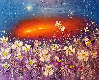 """Sunset Meadow"", flowers in love. Large original floral oil painting, Phil Broad"