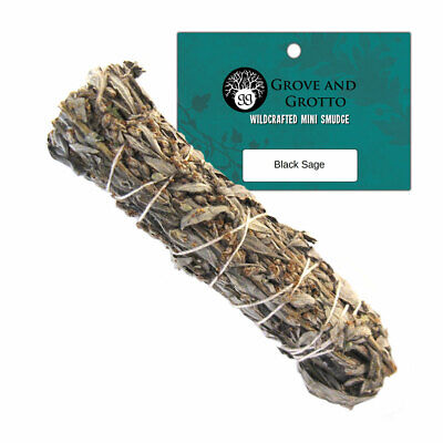 "Black Sage Smudge 4"" NEW Mini Wildcrafted Mugwort Smudging Wand US Grown!"