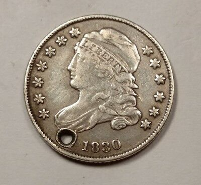 1830 Capped Bust Dime XF Details (Holed)