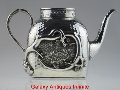 Rare Late 19th Century Antique Solid Silver Chinese Teapot Circa 1890