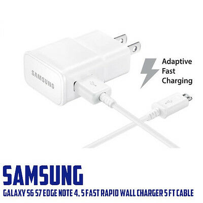 OEM  Samsung Galaxy S6 S7 Edge Note 4, 5 Fast Rapid Wall Charger 5 Ft Cable