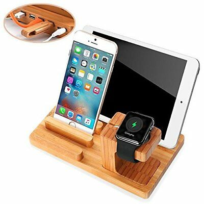 Apple Watch&Phone Stand,Bamboo Wood Charging for iPhone,Apple Watch-4 USB Ports