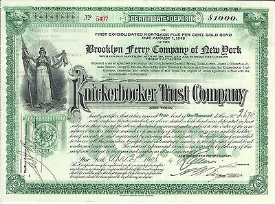 1908 NEW YORK Brooklyn Ferry Company of New York Stock Certificate ABN