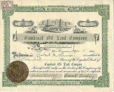 CALIFORNIA 1902, Combined Oil Land Company Stock Certificate