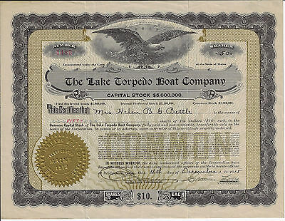 CONNECTICUT 1915 The Lake Torpedo Boat Company Stock Certificate Simon Lake