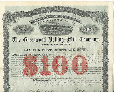 1881 PENNSYLVANIA Greenwood Rolling-Mill Co Bond Stock Certificate #34 Tamaqua