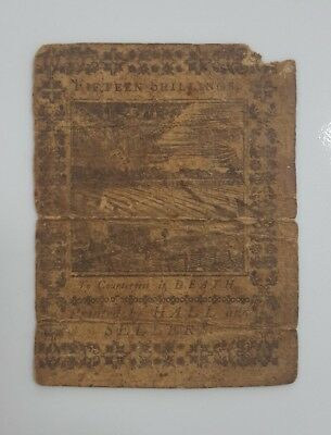 Antique Colonial Paper Money Currency 15 Shillings Fifteen Hall And Sellers