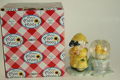 """NEW Mary's Moo Moos Cow Figure """"Lucky Ducky"""" Water Snow Globe #1234567 With Box"""