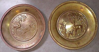 Vintage lot of 2  Brass Wall Hanging, Plaques Plates Deer, Duck, flamingo