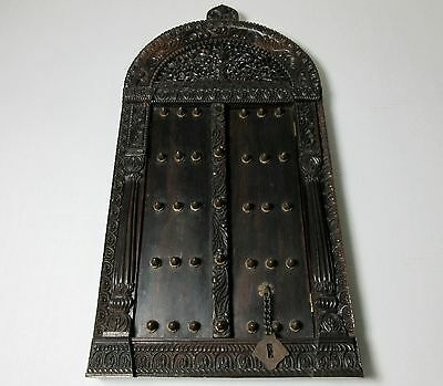 Antique ANGLO INDIAN CARVED WOOD SHRINE COVER or HANGING CABINET