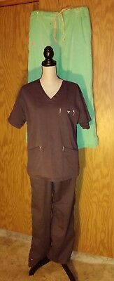 Med Couture EZ Flex Scrub Lot Tops Pants Large Gray Set + Green Pants Only Work