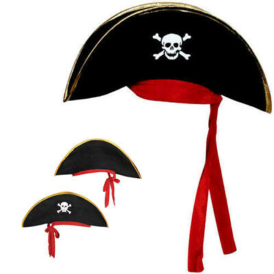Childs Pirate Captain Hat Boys Girls Hook Buccaneer Kids Fancy Dress Accessory