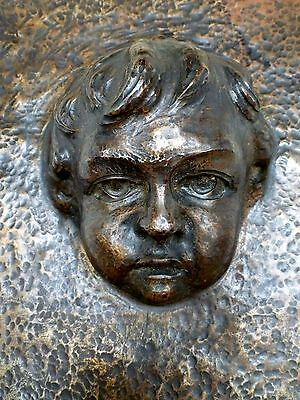 Unique Vintage Copper Metal Mold Plaque Industrial Steampunk Baby Head C.1920