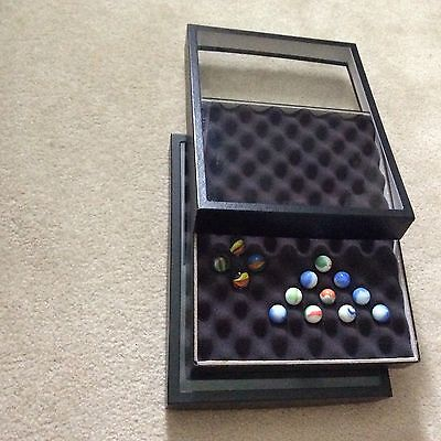 "Box (of 2) SPECIAL 12 x 16 x 2"" Display Cases for MARBLES (with Convoluted Foam)"