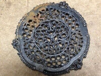 Antique Cast Iron Fireplace Grill Grate Wall Ceiling Vent Old Vtg  Ornate