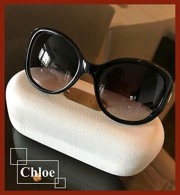 Chloe Sunglasses CL 2193 CO1 Black Frame Grey Gradient Lens with Gold Buckles
