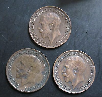 1912, 1914 AND 1923  Great Britain Farthing