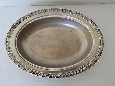 Vintage ENGLISH SILVER MFG CO USA OVAL tray PLATTER PEWTER  ART DECO